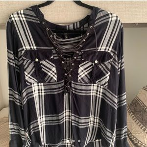Super cute loose flannel top
